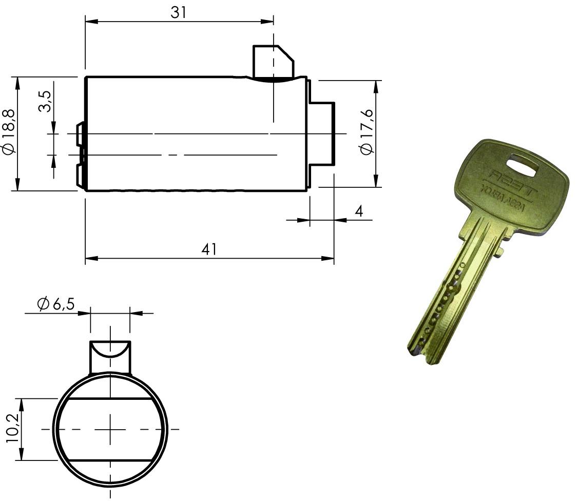 Cerradura Con Llave De Alta Seguridad Mini8 Plus Para Maneta T-Handle