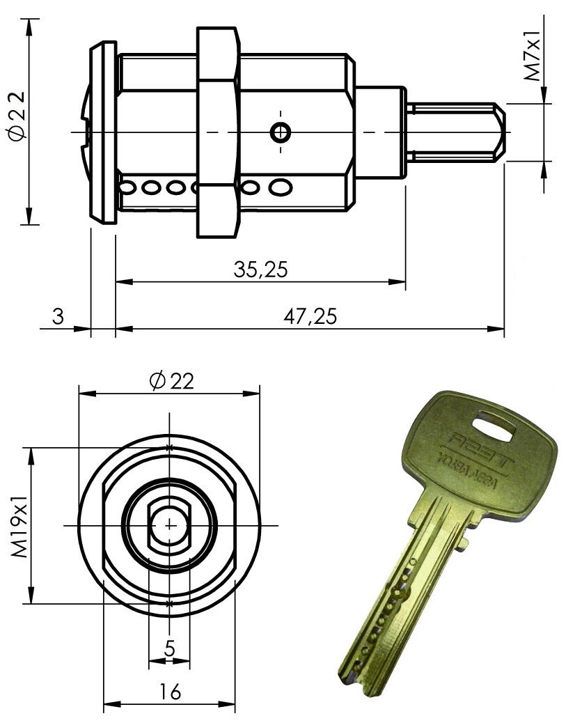 Cerradura Con Llave De Alta Seguridad Mini8 Plus Larga Para Cirsa Unidesa
