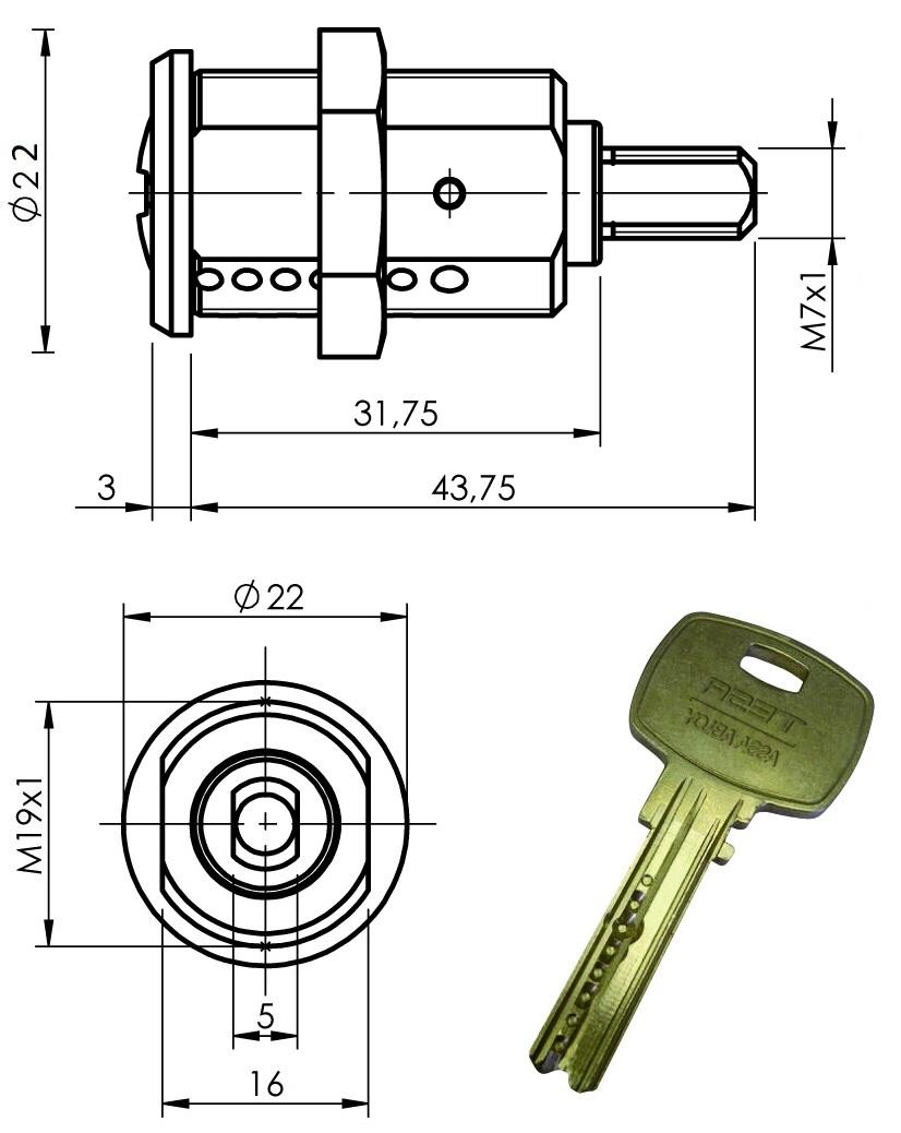 Cerradura Con Llave De Alta Seguridad Mini8 Plus Para Cirsa Unidesa