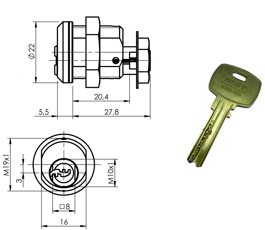 Cerradura Con Llave De Alta Seguridad Mini8 Plus Para Azkoyen
